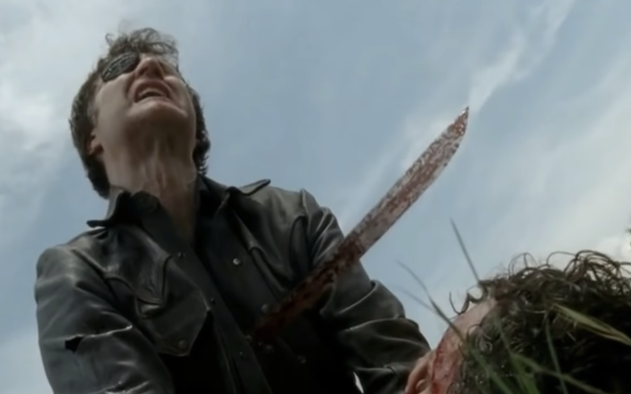 The Governor getting stabbed by a sword