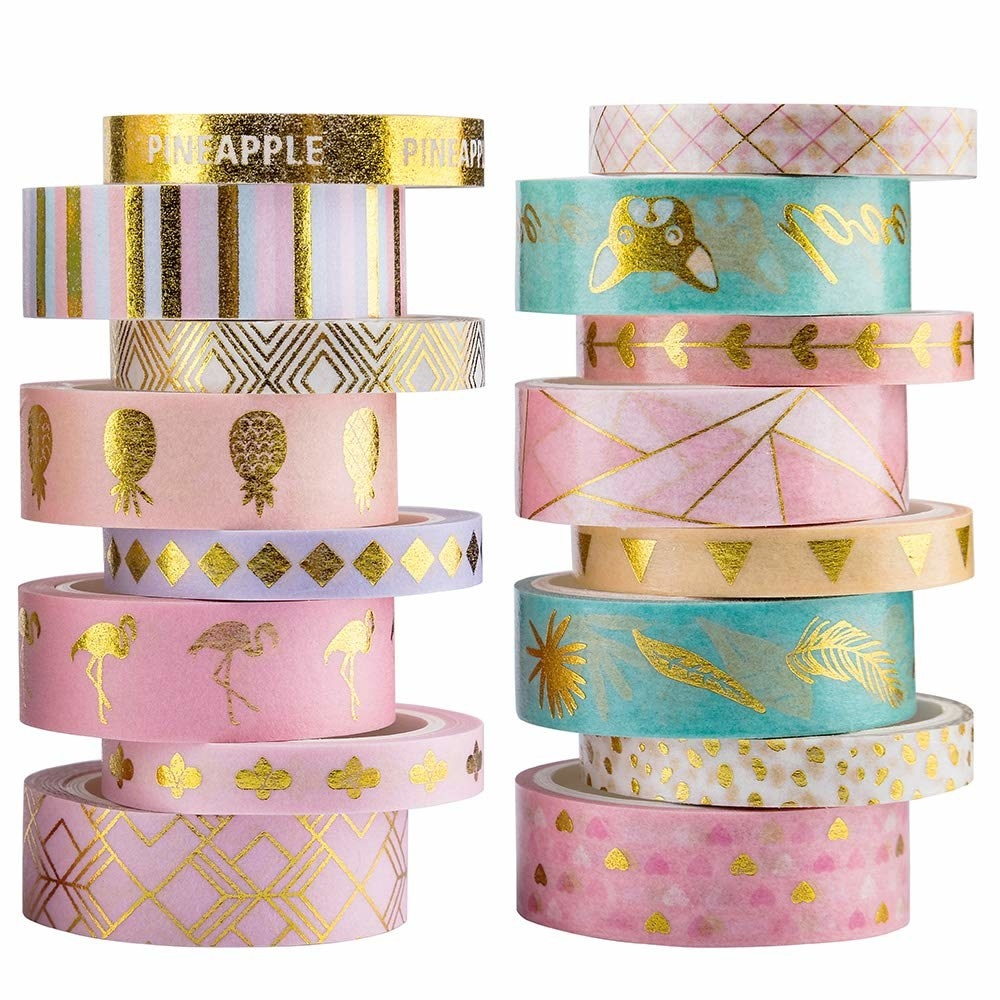 16 rolls of washi tape with gold foil accents