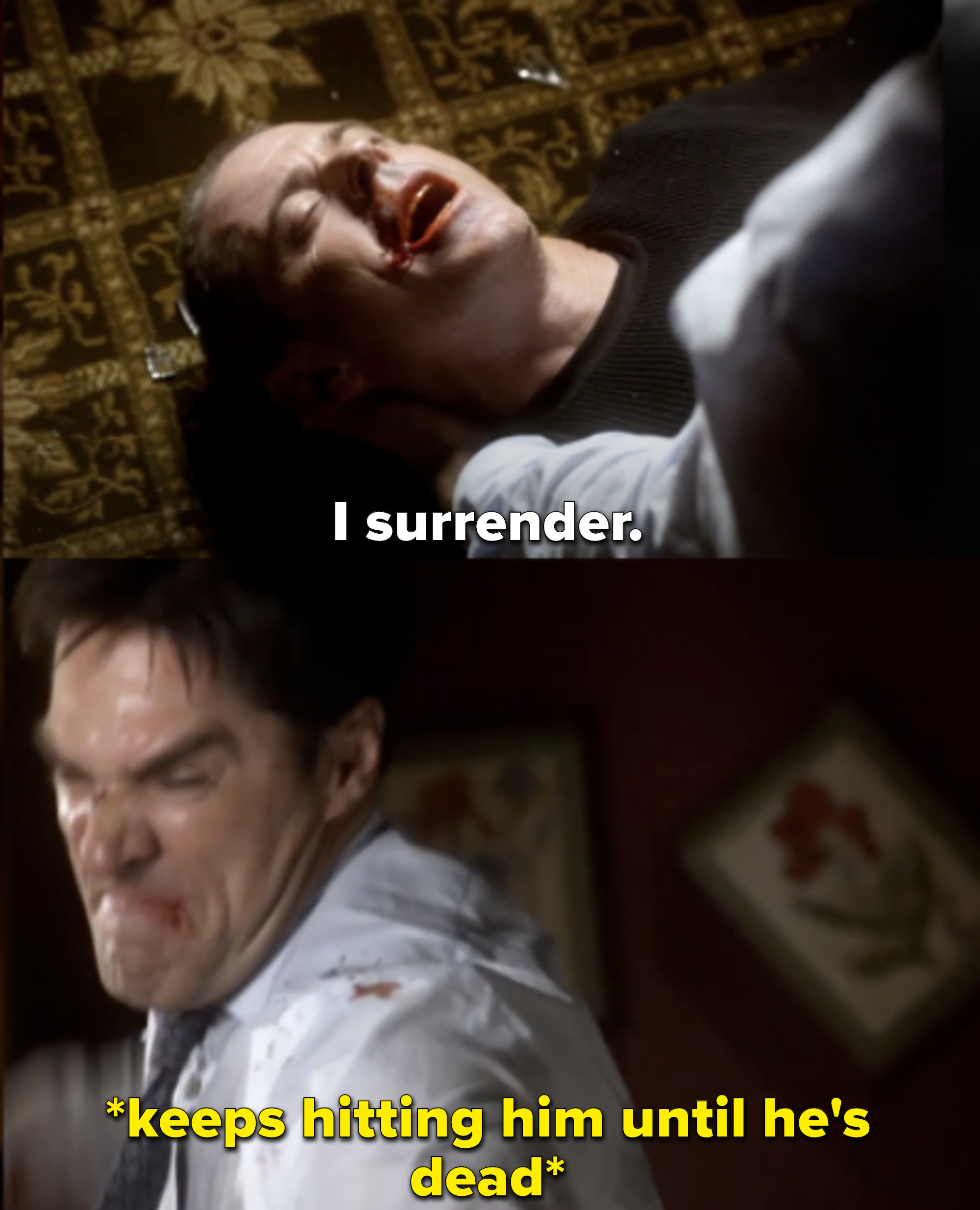 The Reaper says he surrenders, but Hotch keeps punching him until he's dead