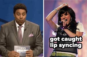 Kenan thompson making a surprised face and ashlee simpson captioned