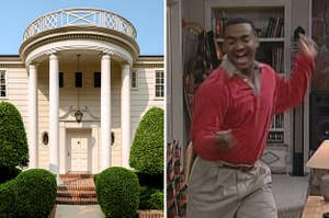 An exterior shot of the Fresh Prince mansion; a screenshot of Carlton dancing excitedly