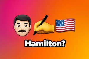 Three emojis of a man, a hand with a pen, and an US flag with Hamilton written underneath it