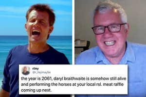 """Side by side of Daryl Braithwaite from """"The Horses"""" video clip and him reacting to tweets about it"""