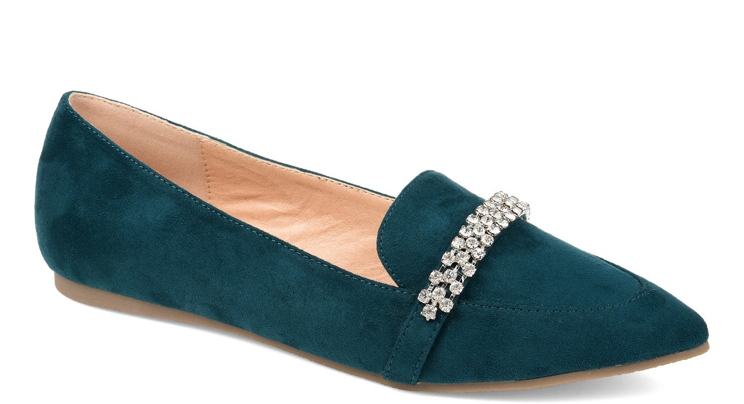 Green pointed toe flats with rhinestone strap