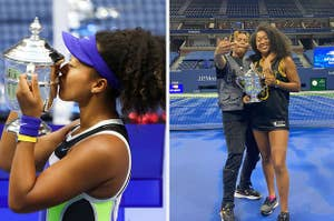 Side by side of Naomi kissing her trophy and Naomi posing with and Cordae