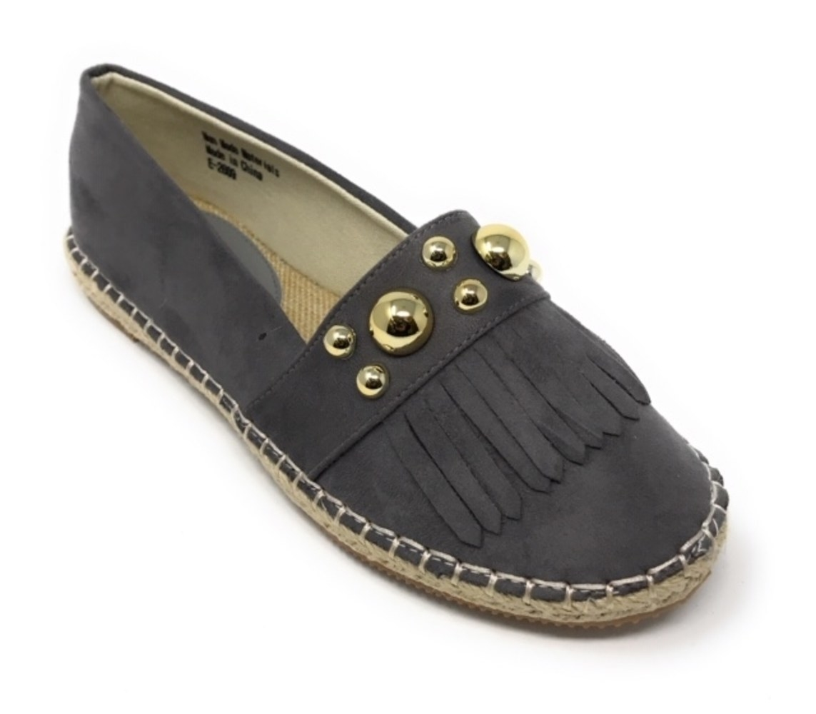 fringe and gold studded gray espadrille flats