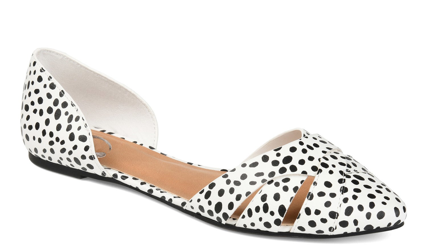black and white animal print crisscross cutout flats