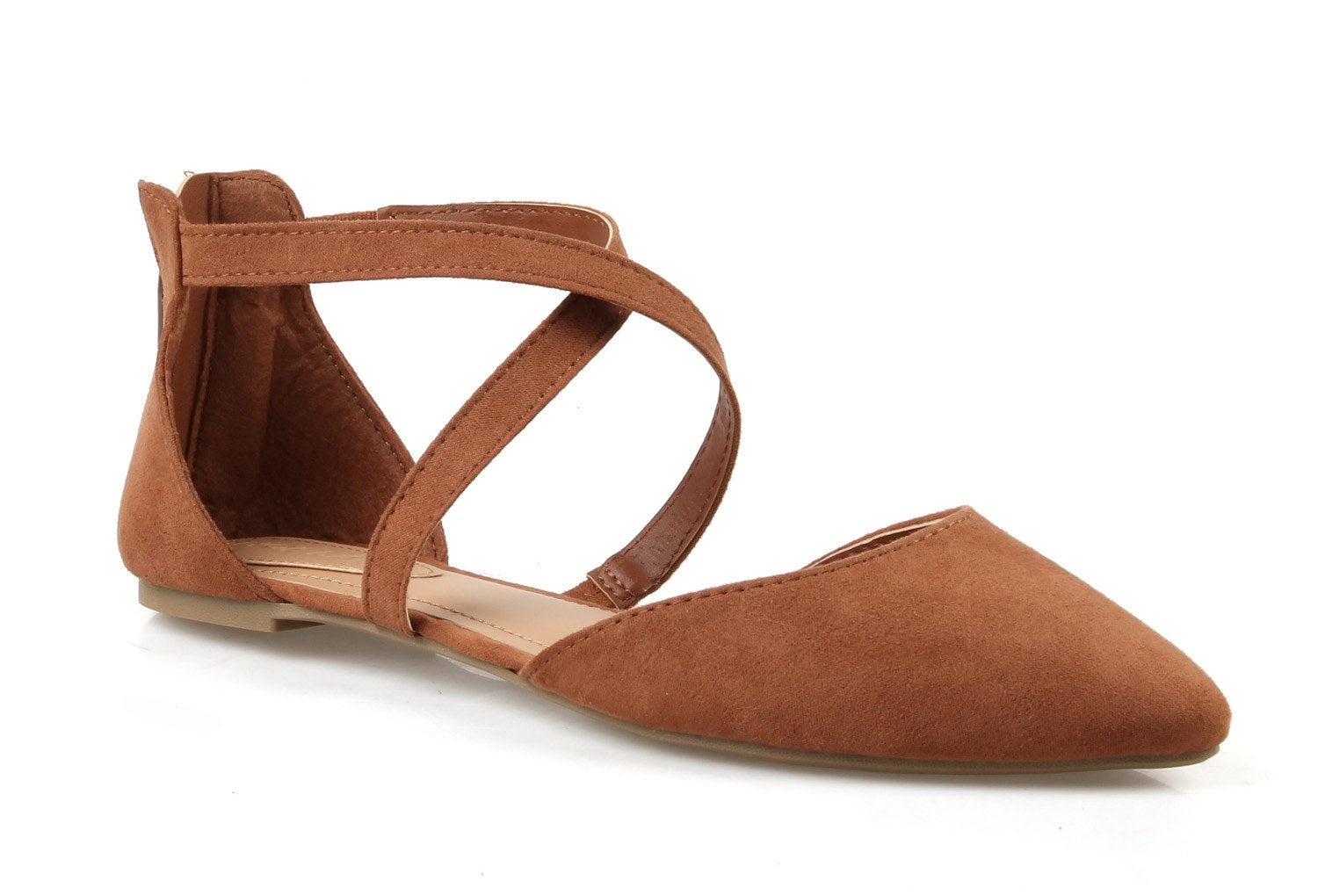 brown pointed toe crisscross flats
