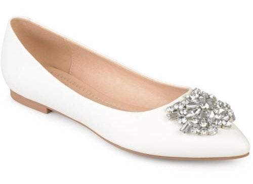 White faux leather jewel encrusted pointed toe flats