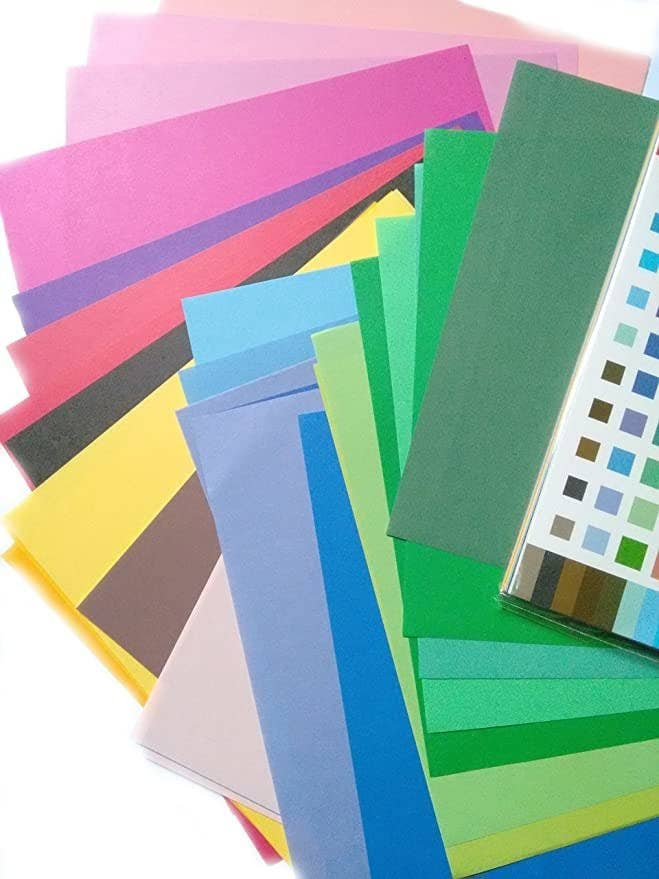 Sheets of coloured paper.