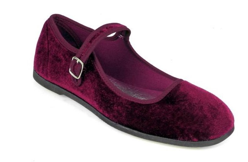 Faux velvet wine colored mary jane flats