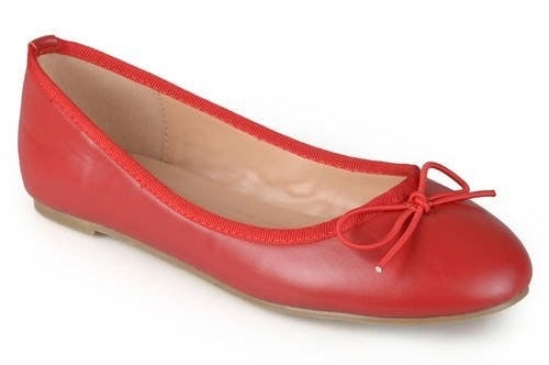 red round-toe ballet flats with bow