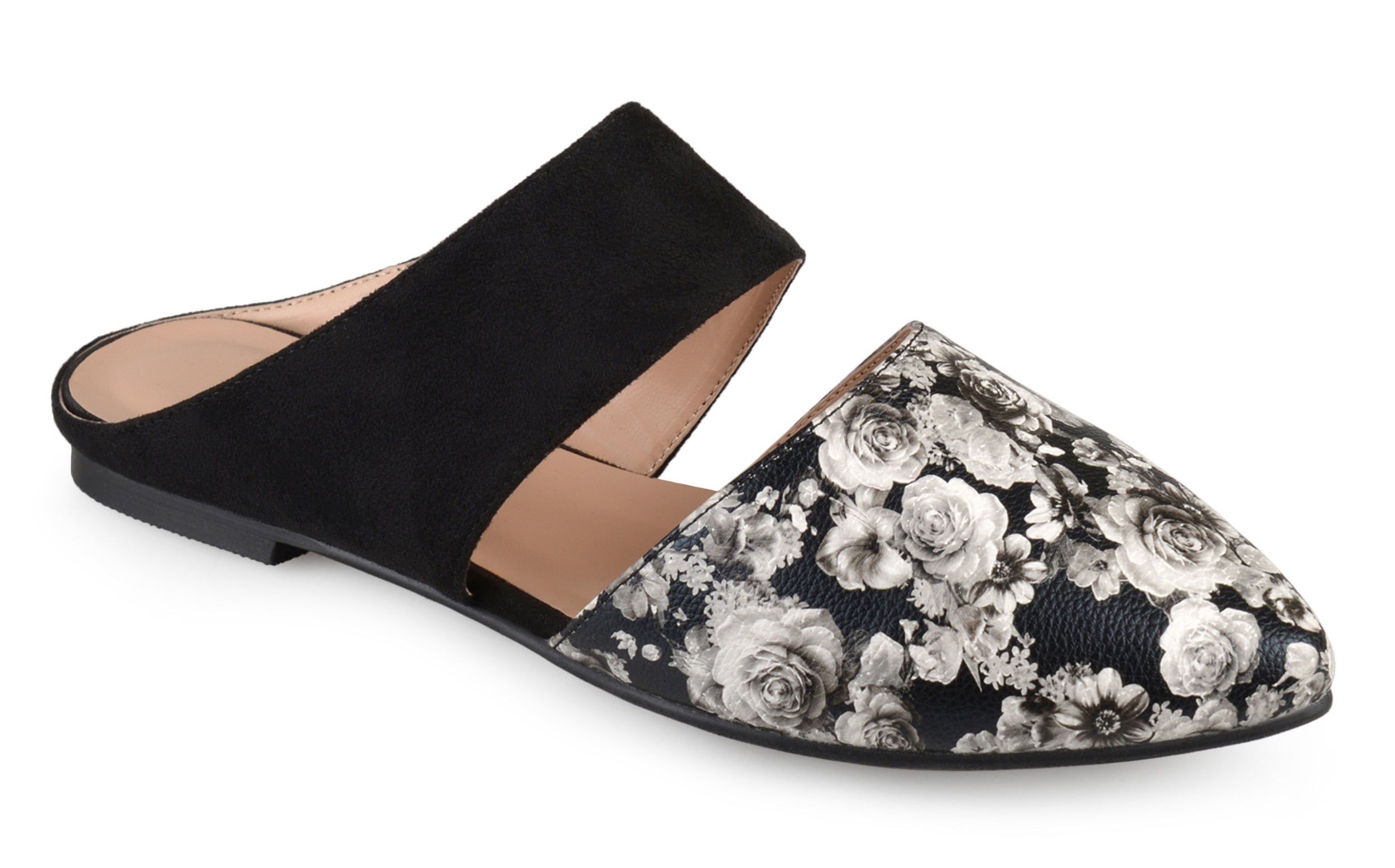 Faux suede and faux leather dark floral printed mules with cutout