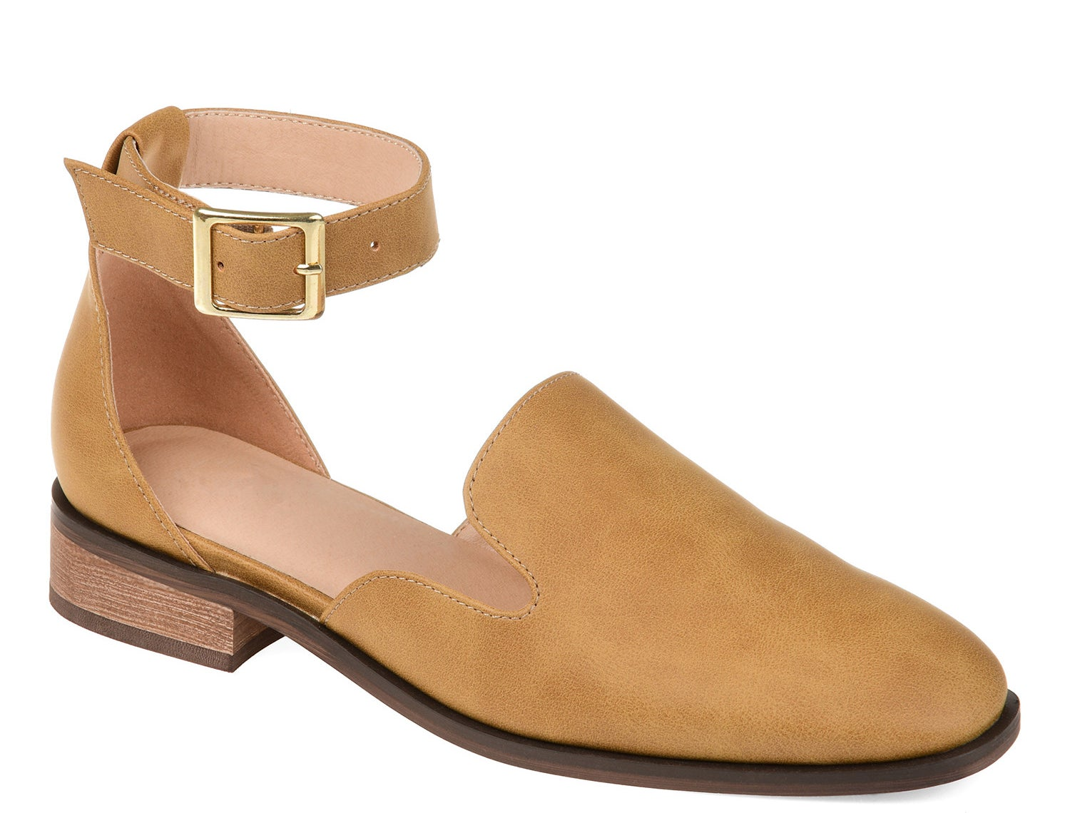 Square toe mustard flats with ankle strap