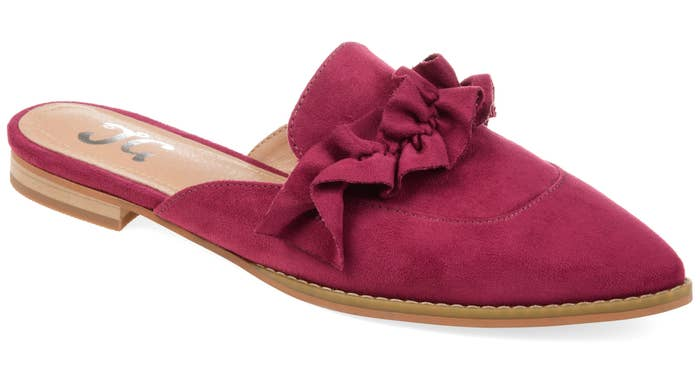 Purple mule flats with ruffle detail