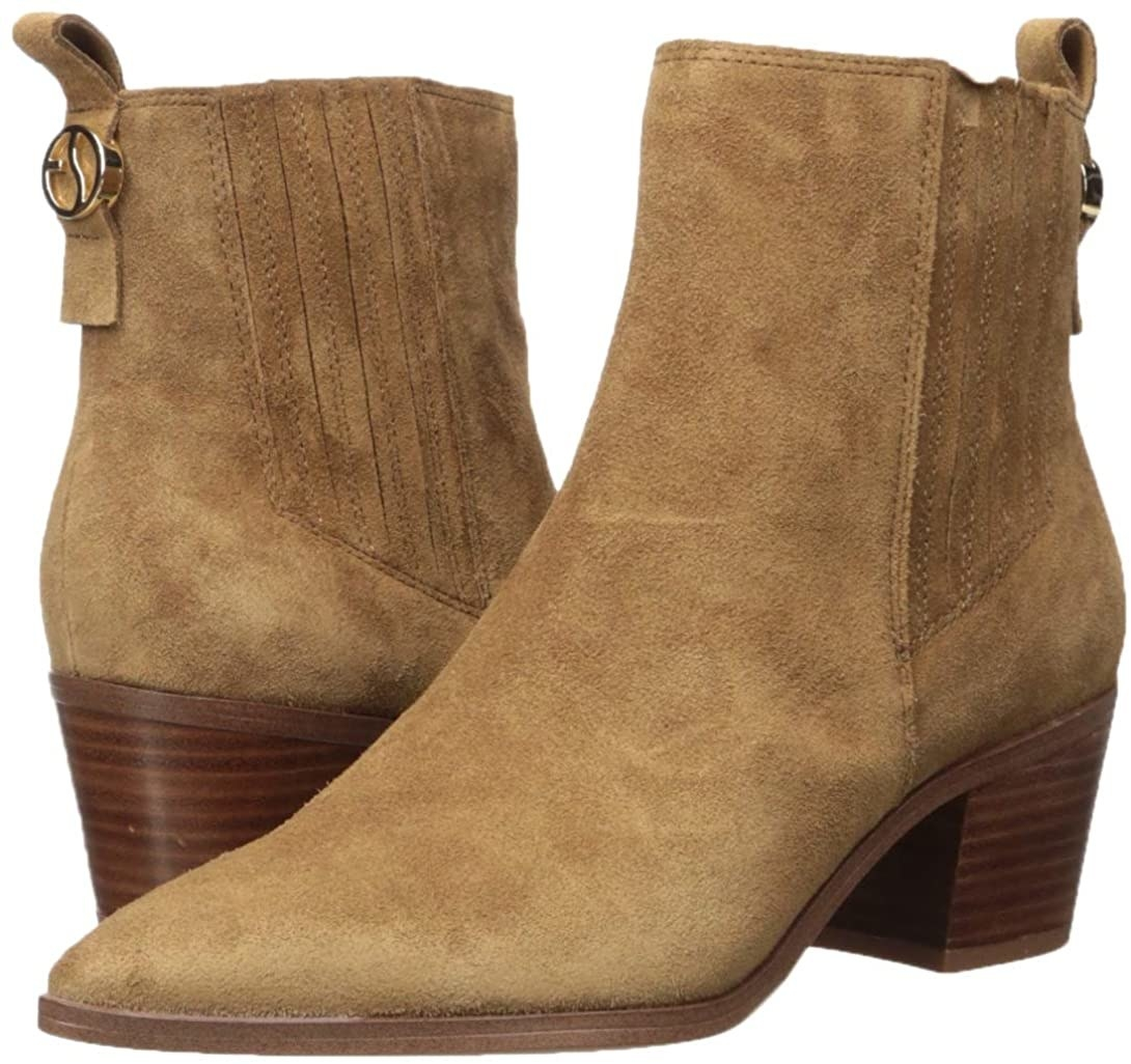 the brown suede block heel booties