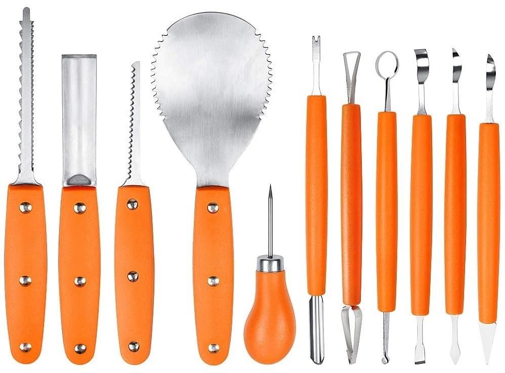 A set of ten different pumpkin carving tools
