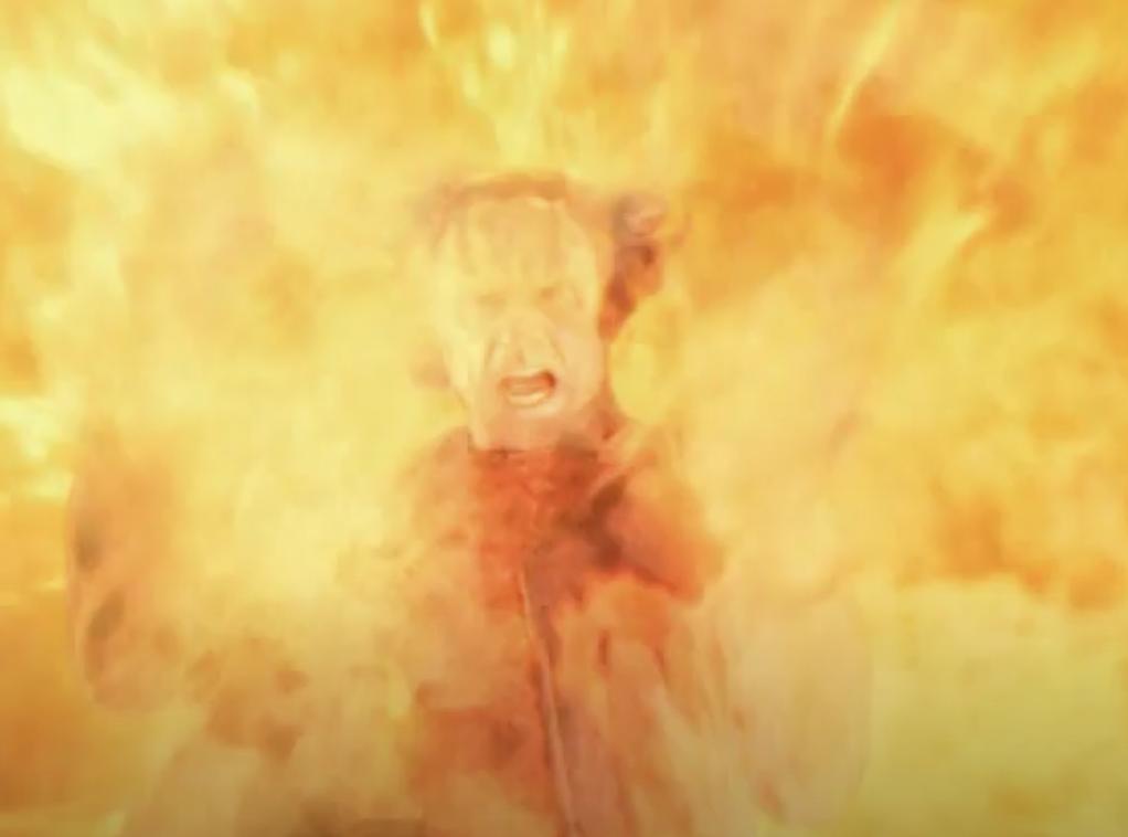 Gul Dukat falling into the fire