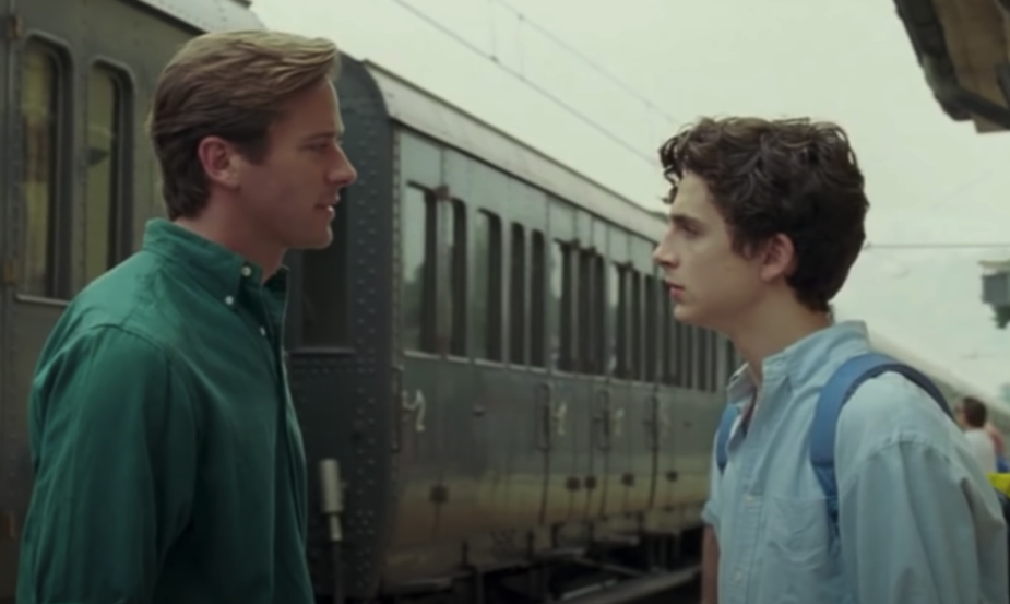 Elio and Oliver saying goodbye to each other at the train station at the end of the movie