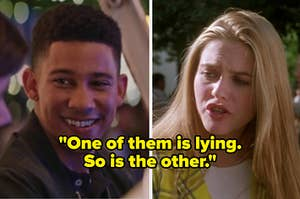 """Bram from Love Simon on the left and Cher from Clueless on the right with the text """"one of them is lying. so it the other"""" over them"""