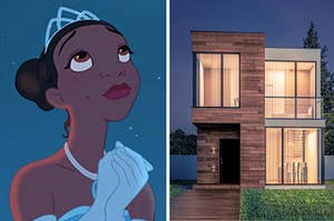 Tiana is on the left looking up at the stars with a modern, two-story house on the right
