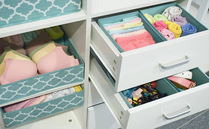 Several of the homyfort Clothes Drawer Organizer Dividers being used to organize clothes on shelves as well as in drawers