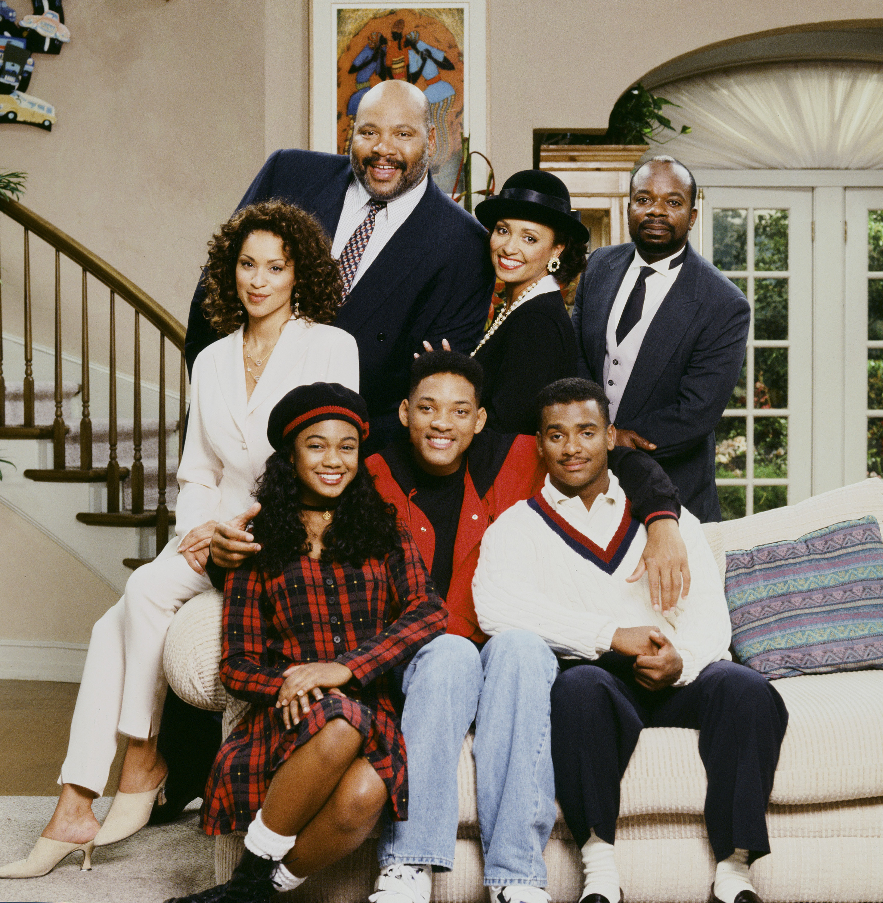 Will Smith, Philip Banks, Vivian Banks, Carlton Banks, Hilary Banks, Ashley Banks, and Geoffrey Butler from The Fresh Prince of Bel-Air