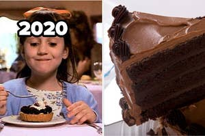 "Matilda is on the left looking happy, labeled, ""2020"" with a piece of chocolate cake on the right"