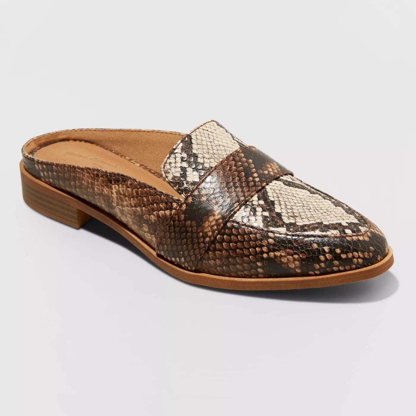 brown beige and grey snakeskin mule loafers