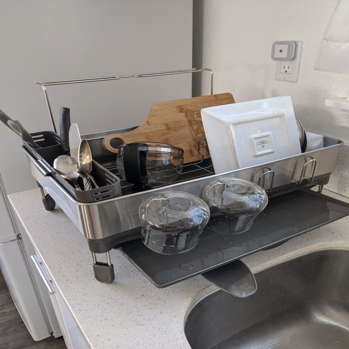 The same customer's dish rack from an angle showing the draining spout and tray