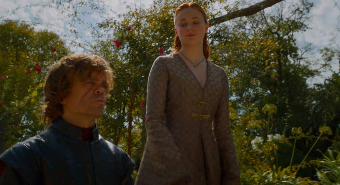 A still of Tyrion Lannister and Sansa Stark in Game of Thrones
