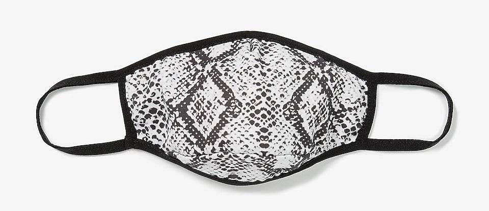 Black and white snake print mask with black trim and ear loops