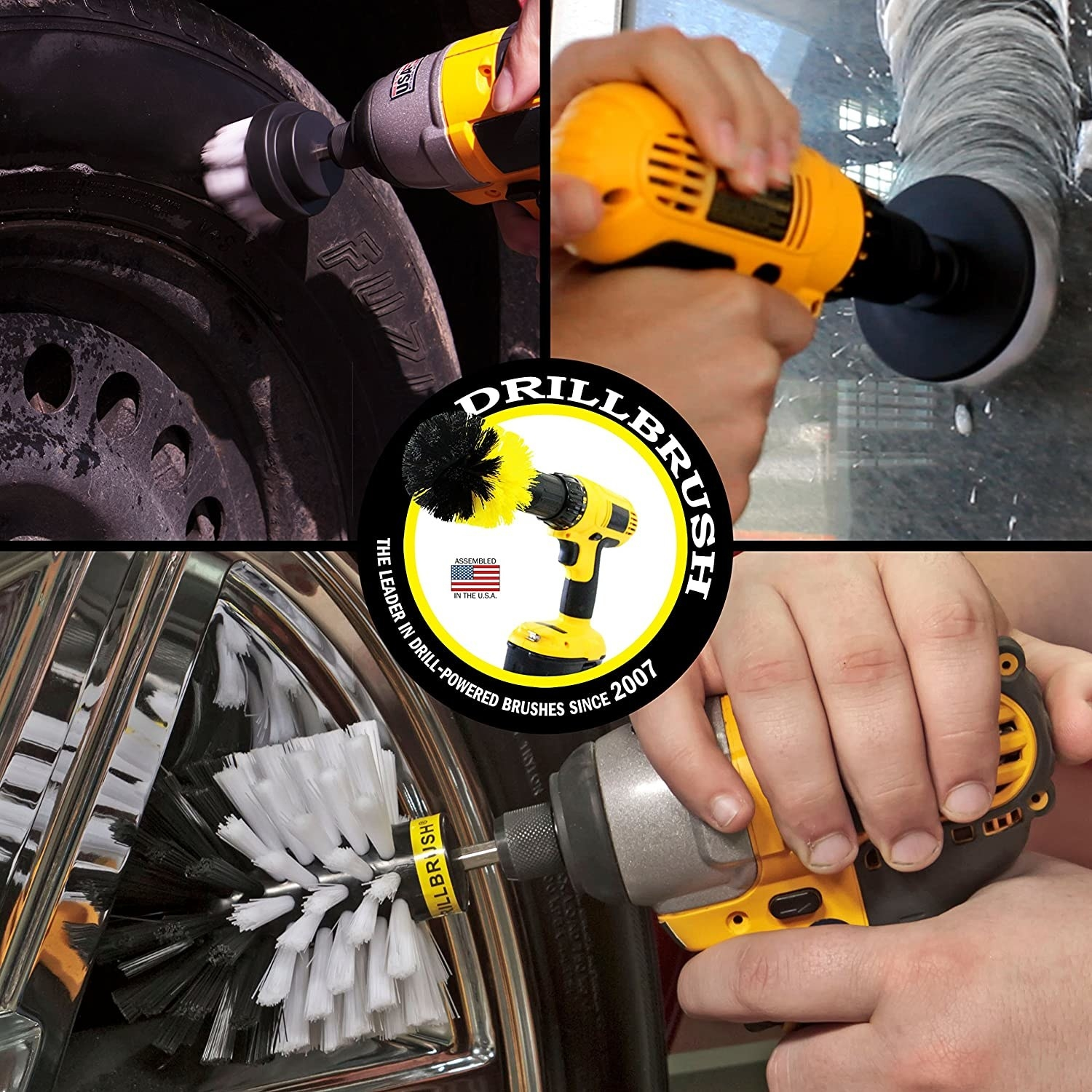 The drill brush attachments can be used to clean tired, tire rims, glass, porcelain and more