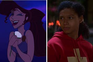 "Meg from ""Hercules"" is smiling on the left with Monse from ""On My Block"" looking concerned on the right"