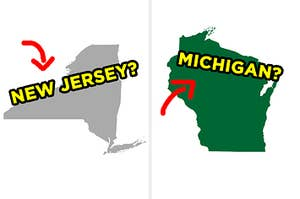 """On the left, an outline of a state with an arrow next to it and """"New Jersey?"""" typed on top of it, and on the right, an outline of a state with an arrow pointing to it and """"Michigan?"""" typed on top of it"""