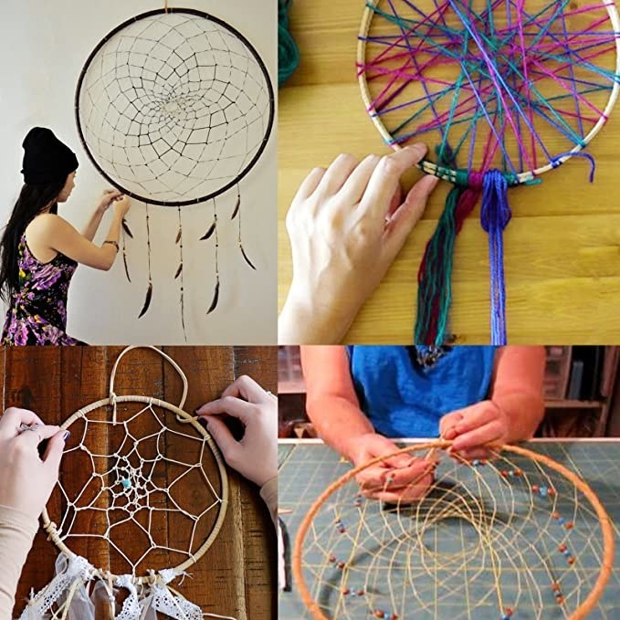 Collage of the different steps in the process of making a dreamcatcher.