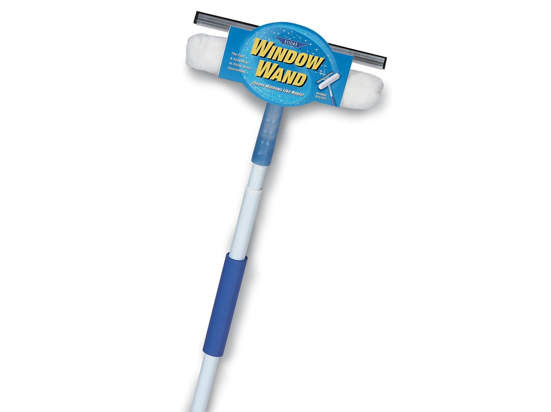 A Window Wand that has a built-in sponge and a squeegee