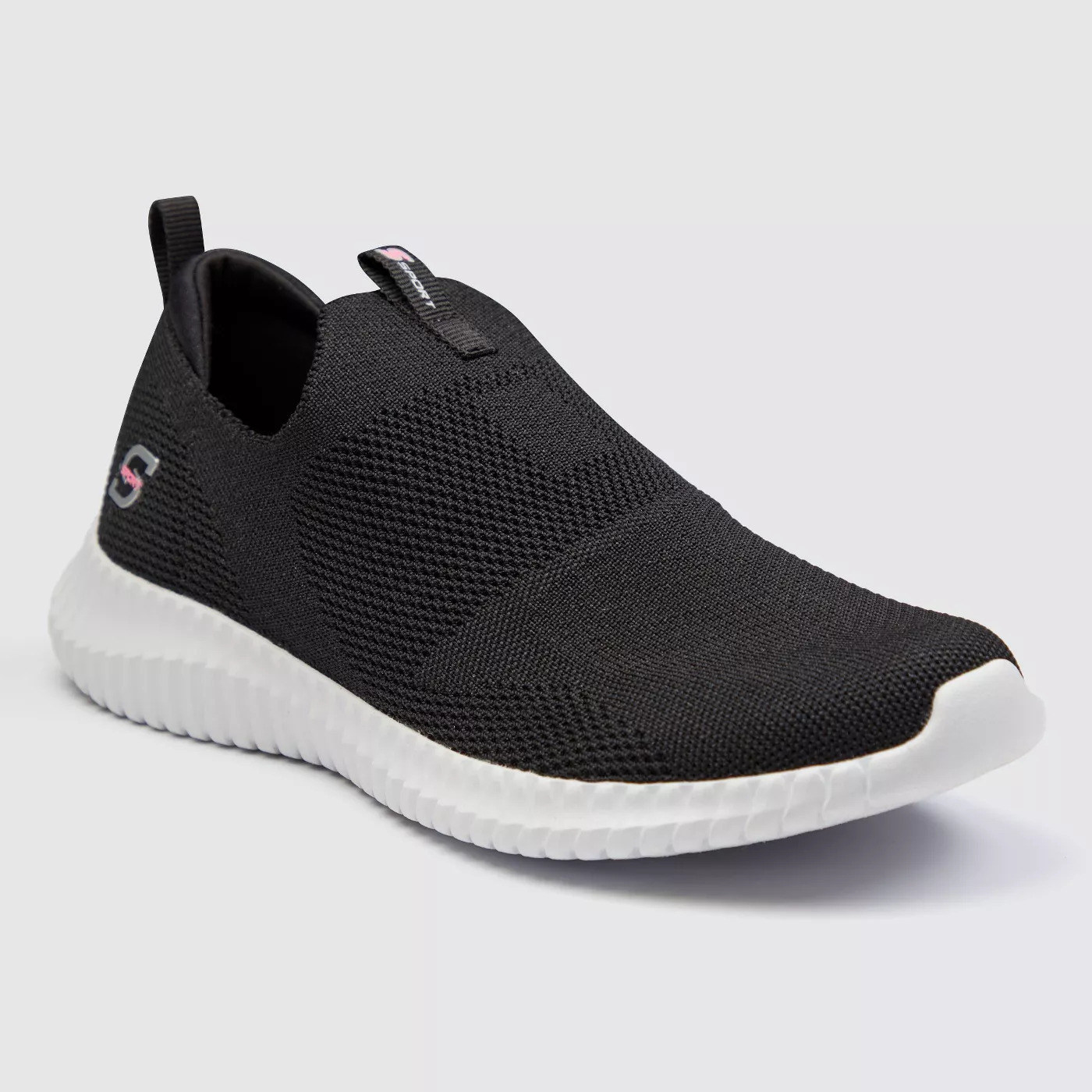 black laceless sneakers with white rubber soles