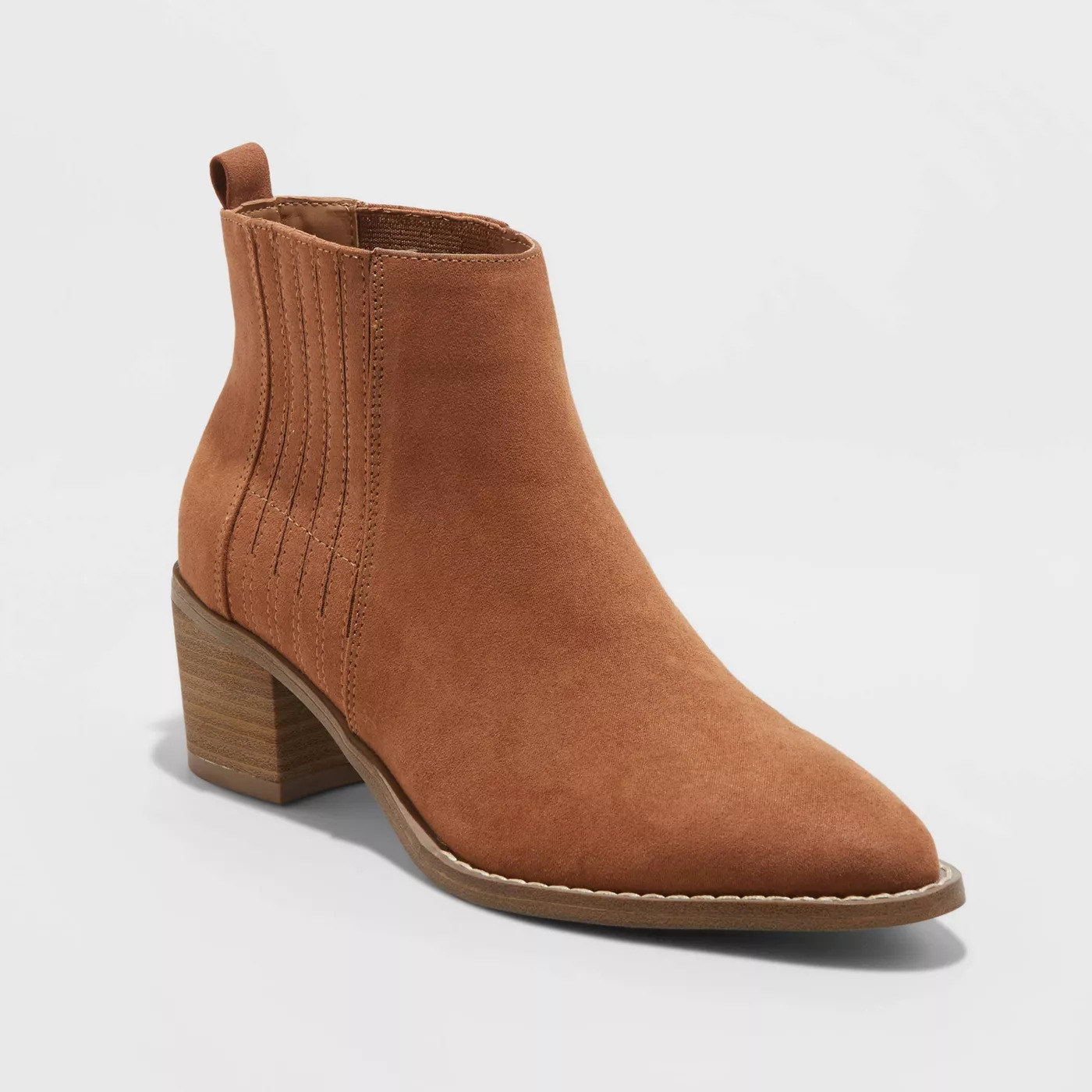 cognac faux suede bootie with a tan sole and heel