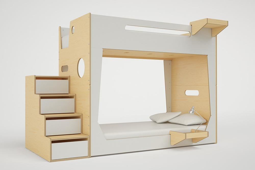 Natural wood and white bunk bed with stairs in modern, modular design