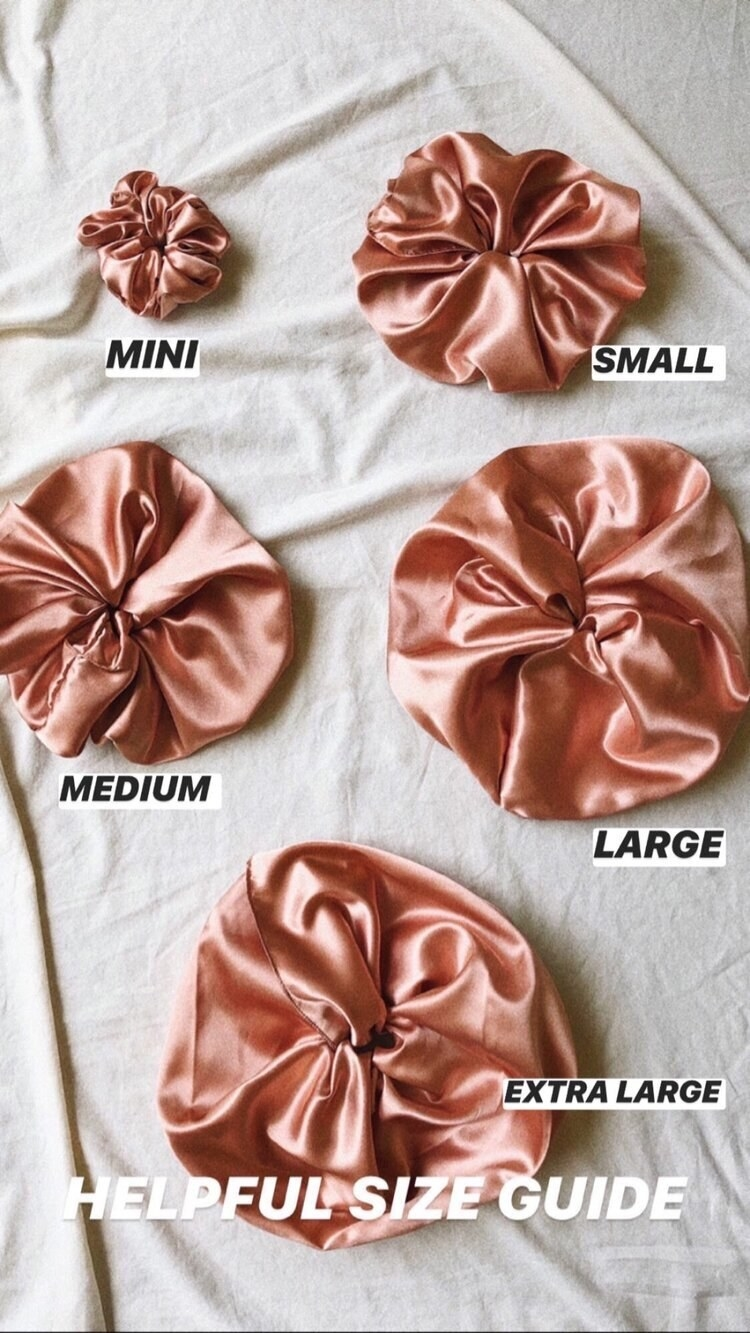 The size chart of the scrunchies — five sizes available