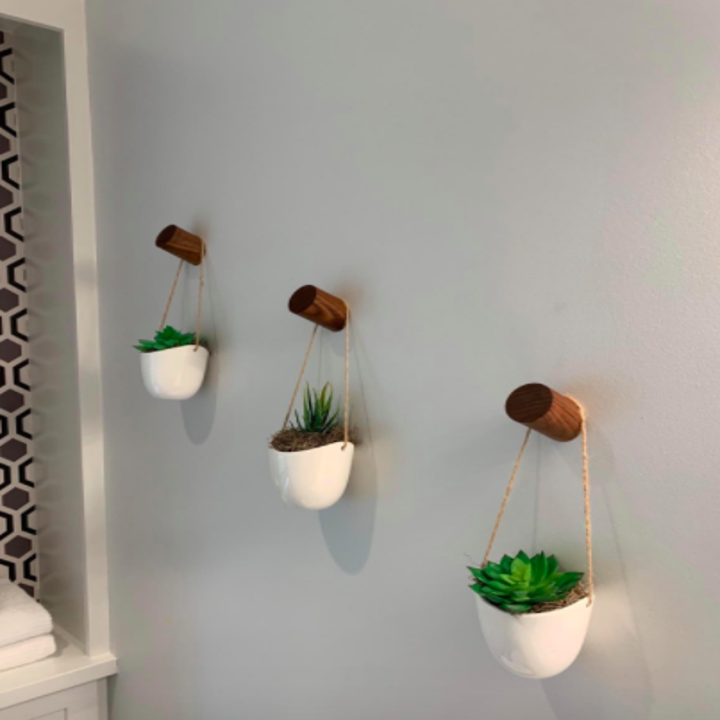 Reviewer uses same wall hooks to display hanging succulents on a corner wall