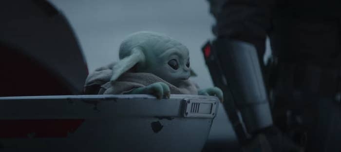 Baby Yoda in their cradle