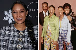 """Side by side of Tia Mowry at an event and Tia with her """"Sister, Sister"""" characters"""