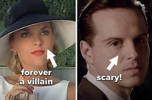 """Elaine Hendrix as Meredith in """"The Parent Trap"""" and Andrew Scott as Moriarty in """"Sherlock"""""""