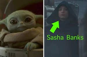 Baby Yoda and Sasha Banks in The Mandalorian