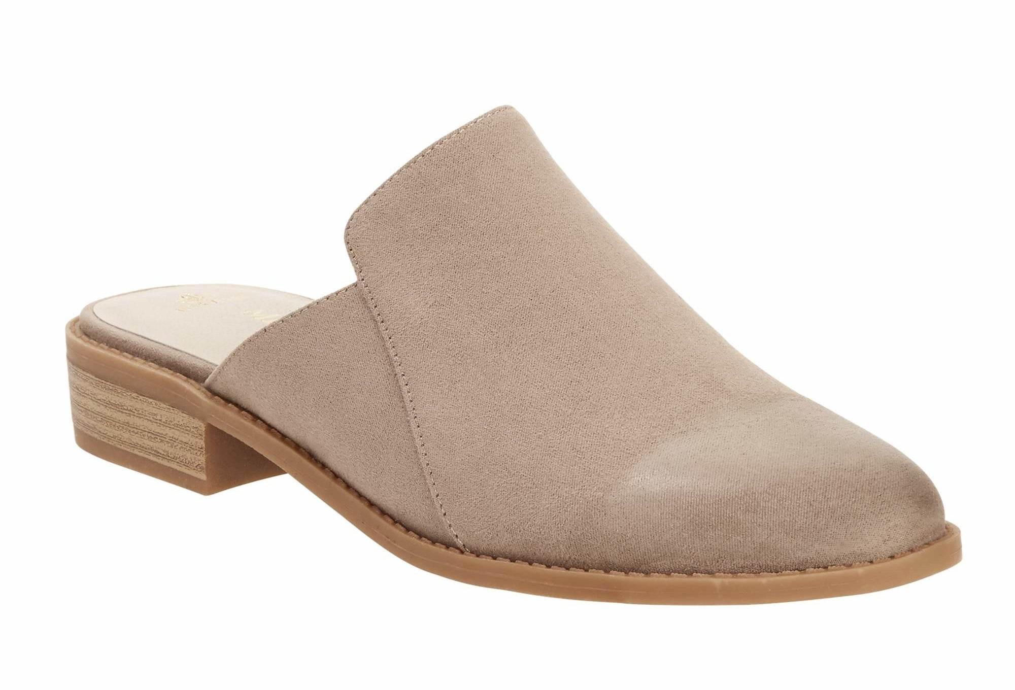 The vegan suede mule in taupe