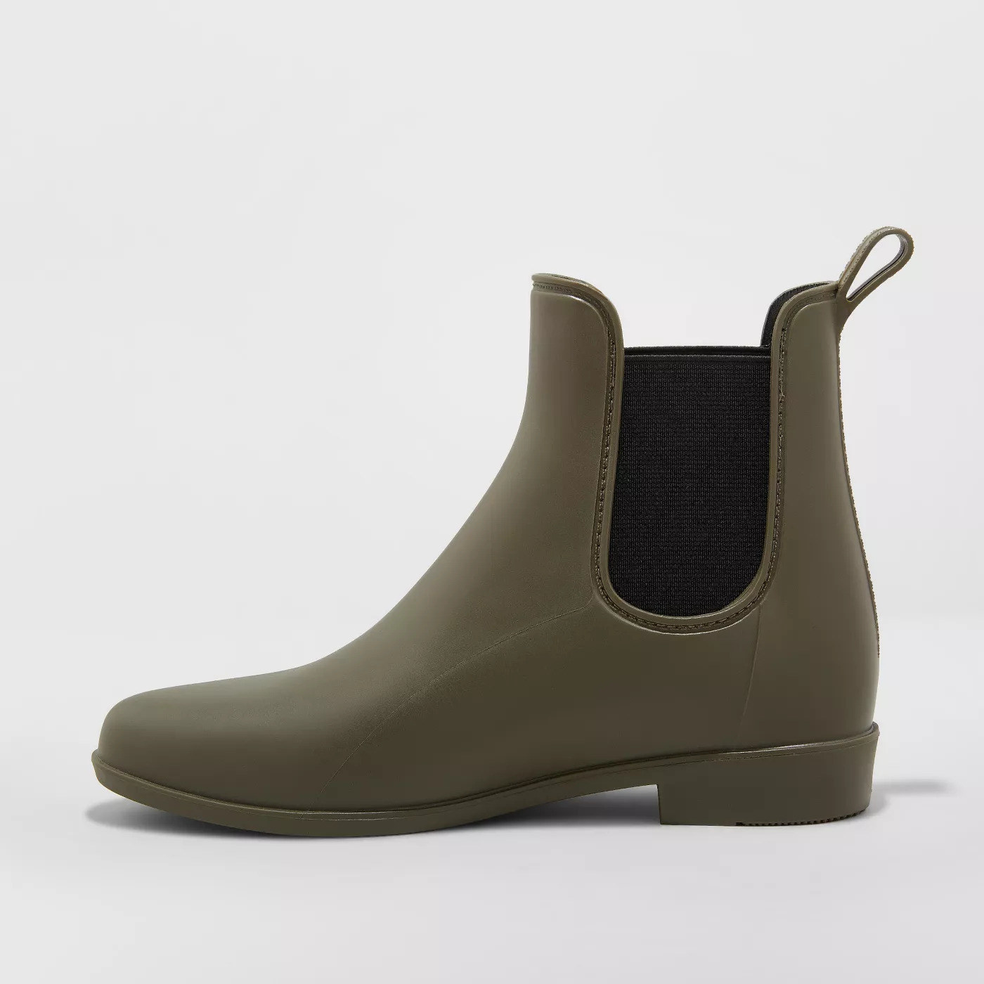 olive rubber chelsea boots with black elastic sides