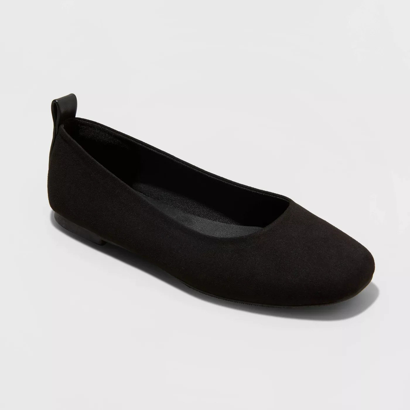A black flat with a rounded toe