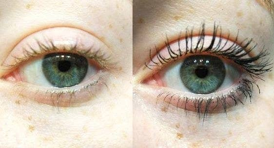Reviewer's before-and-after of their natural light eyelashes, and then full lashes after mascara